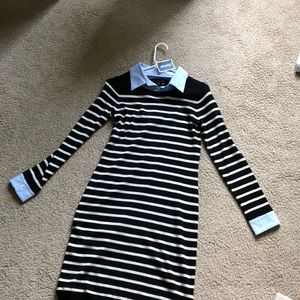 Striped collared sweater dress